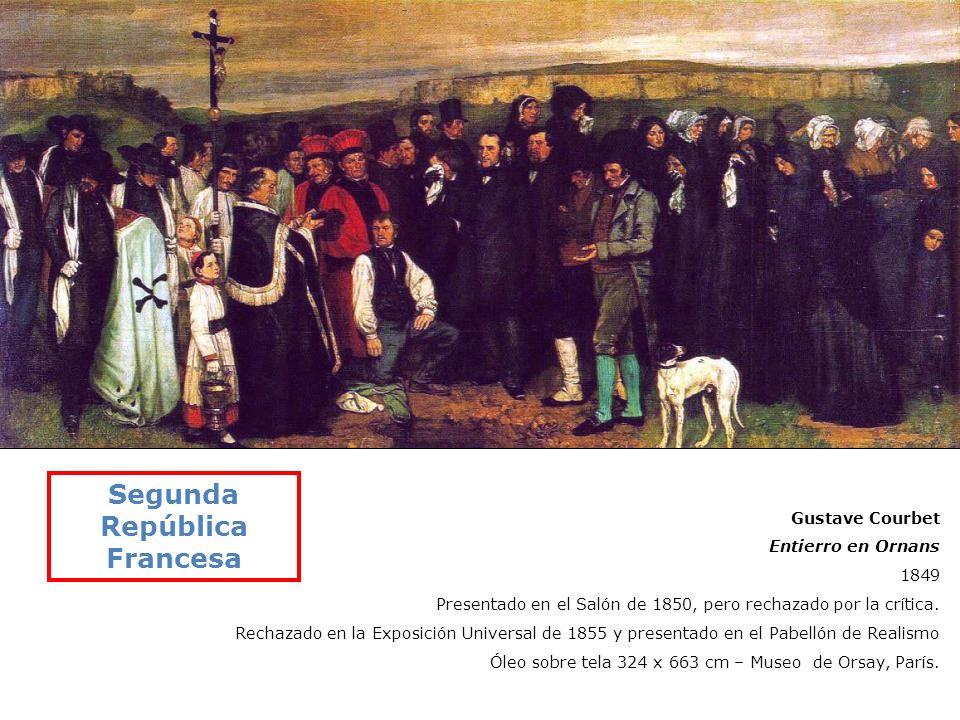 Gustave Courbet Entierro en Ornans 1849 Presentado en el Salón de 1850, pero rechazado por la crítica. Rechazado en la Exposición Universal de 1855 y