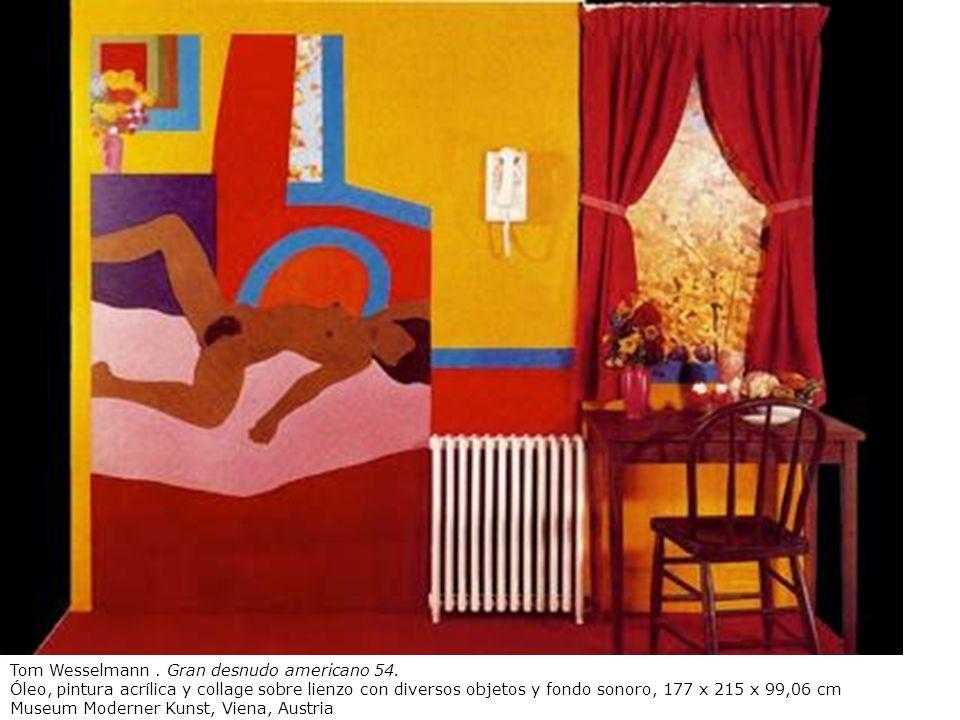 Tom Wesselmann. Gran desnudo americano 54. Óleo, pintura acrílica y collage sobre lienzo con diversos objetos y fondo sonoro, 177 x 215 x 99,06 cm Mus