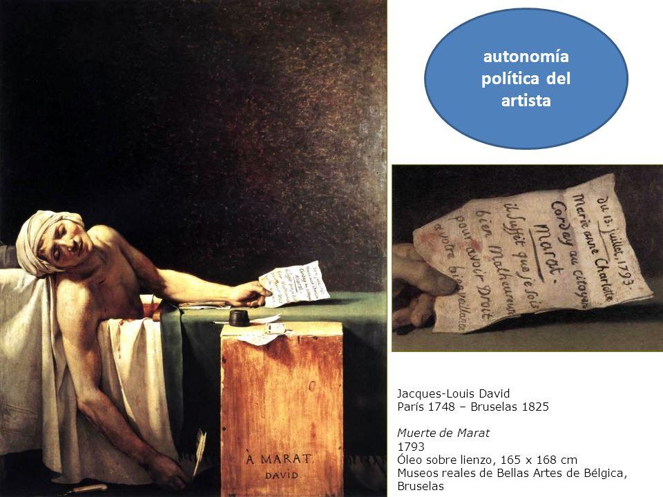 Jacques-Louis David París 1748 – Bruselas 1825 Muerte de Marat 1793 Óleo sobre lienzo, 165 x 168 cm Museos reales de Bellas Artes de Bélgica, Bruselas