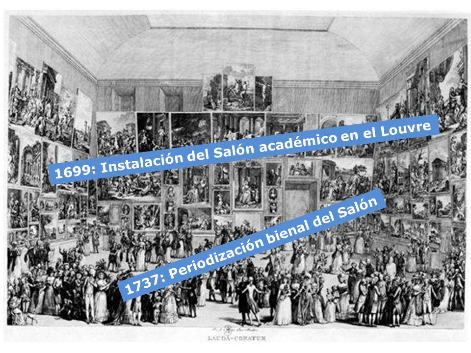 1699: Instalación del Salón académico en el Louvre 1737: Periodización bienal del Salón