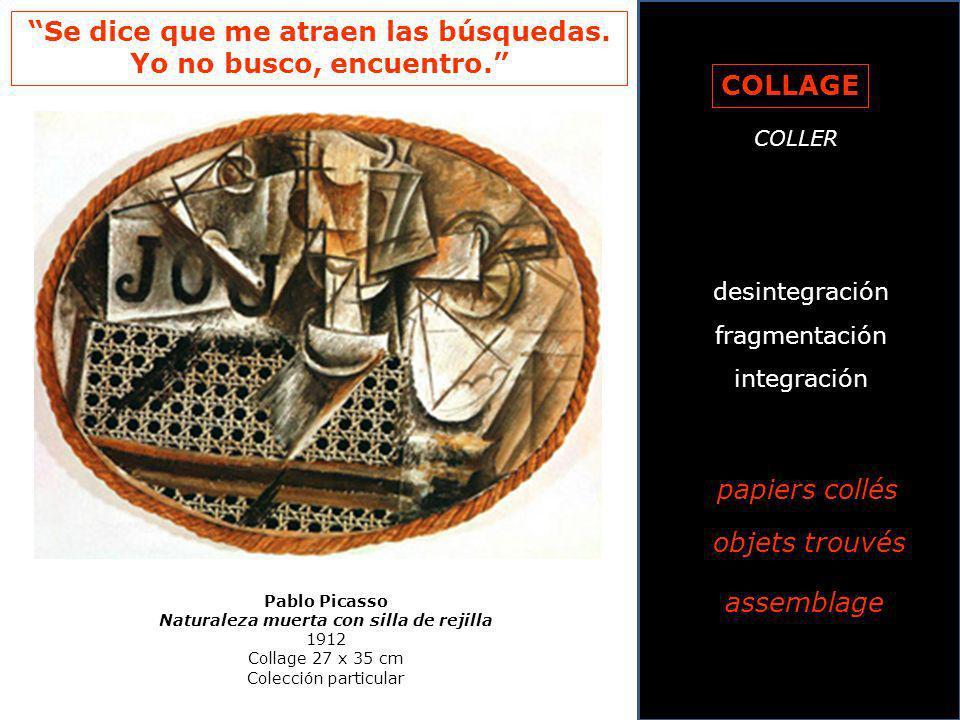 Pablo Picasso Naturaleza muerta con silla de rejilla 1912 Collage 27 x 35 cm Colección particular COLLAGE COLLER desintegración fragmentación integrac