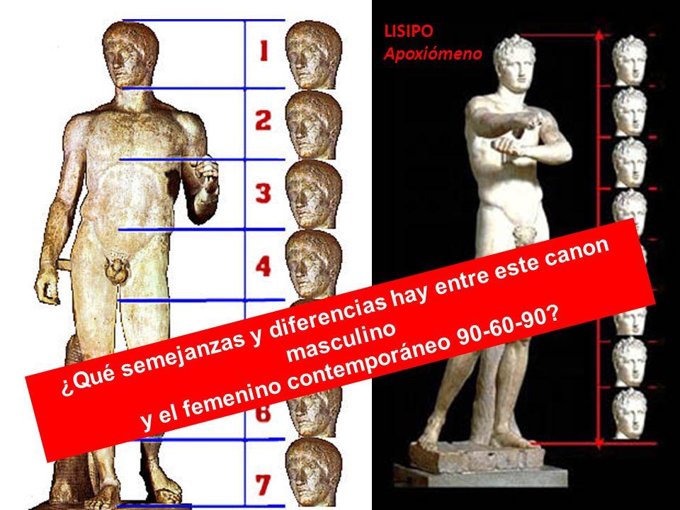 LISIPO Apoxiómeno ¿Qué semejanzas y diferencias hay entre este canon masculino y el femenino contemporáneo 90-60-90?