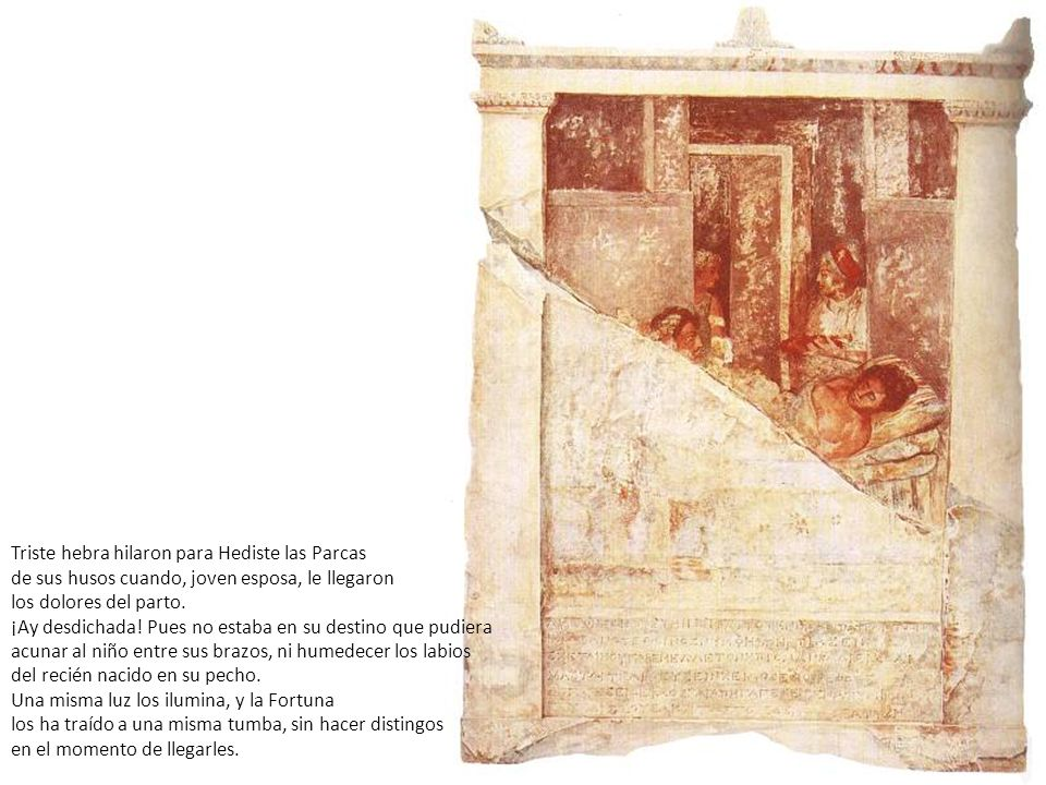 Triste hebra hilaron para Hediste las Parcas de sus husos cuando, joven esposa, le llegaron los dolores del parto. ¡Ay desdichada! Pues no estaba en s