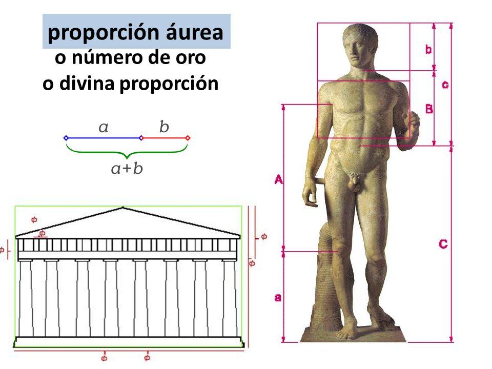 Proporción áurea o número de oro o divina proporción El número áureo surge de la división en dos de un segmento guardando las siguientes proporciones: