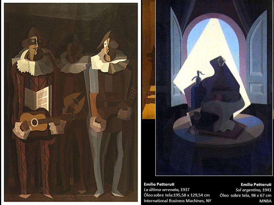 Pablo Picasso Tres músicos, 1921 Óleo y collage sobre tela 204 x 188 cm MoMA Emilio Pettoruti Sol argentino, 1941 Óleo sobre tela, 98 x 67 cm MNBA Emi