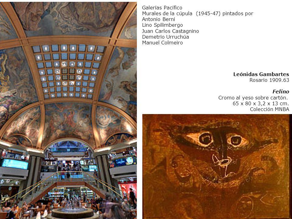 Leónidas Gambartes Rosario 1909.63 Felino Cromo al yeso sobre cartón. 65 x 80 x 3,2 x 13 cm. Colección MNBA Galerías Pacífico Murales de la cúpula (19