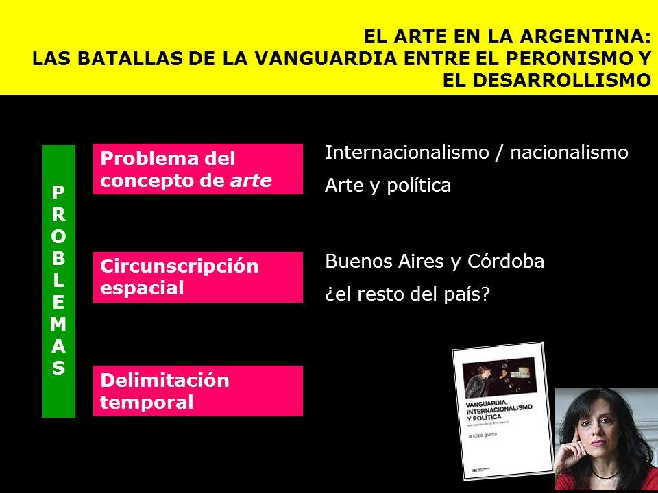 Buenos Aires y Córdoba ¿el resto del país? Internacionalismo / nacionalismo Arte y política Circunscripción espacial Problema del concepto de arte Del