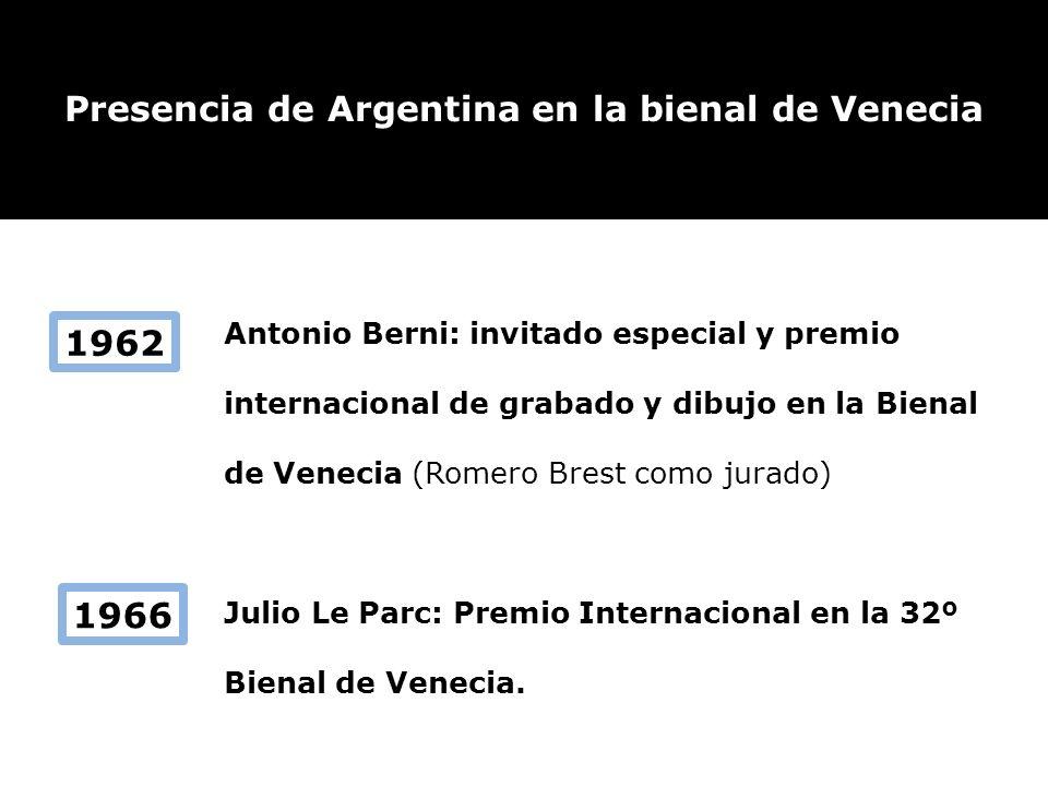 Antonio Berni: invitado especial y premio internacional de grabado y dibujo en la Bienal de Venecia (Romero Brest como jurado) Julio Le Parc: Premio I