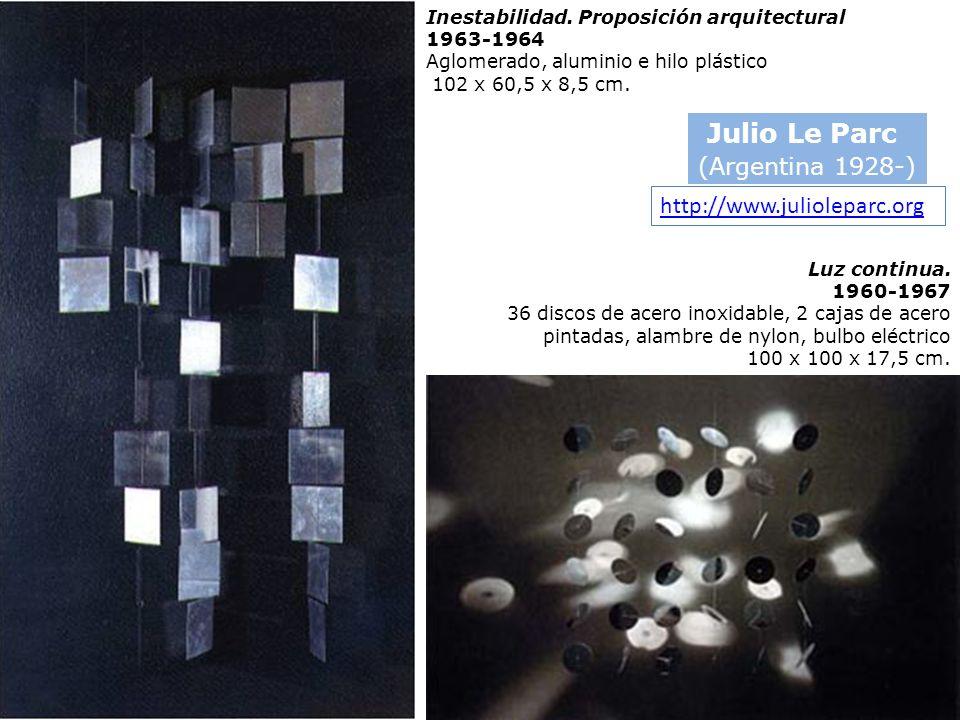 Inestabilidad. Proposición arquitectural 1963-1964 Aglomerado, aluminio e hilo plástico 102 x 60,5 x 8,5 cm. Julio Le Parc (Argentina 1928-) Luz conti