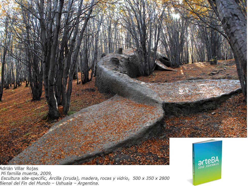 Adrián Villar Rojas Mi familia muerta, 2009, Escultura site-specific, Arcilla (cruda), madera, rocas y vidrio, 500 x 350 x 2800 cm Bienal del Fin del