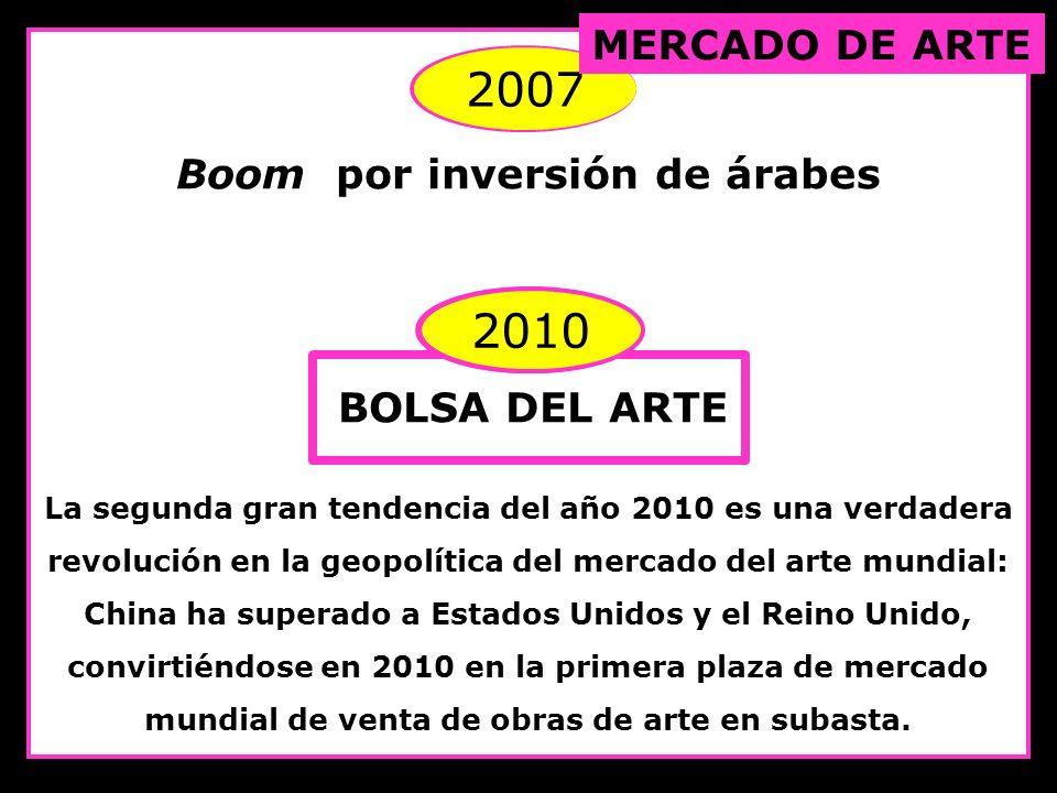 2007 Boom por inversión de árabes 2010 BOLSA DEL ARTE La segunda gran tendencia del año 2010 es una verdadera revolución en la geopolítica del mercado