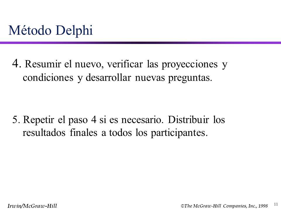© The McGraw-Hill Companies, Inc., 1998 Irwin/McGraw-Hill 11 Método Delphi 4. Resumir el nuevo, verificar las proyecciones y condiciones y desarrollar