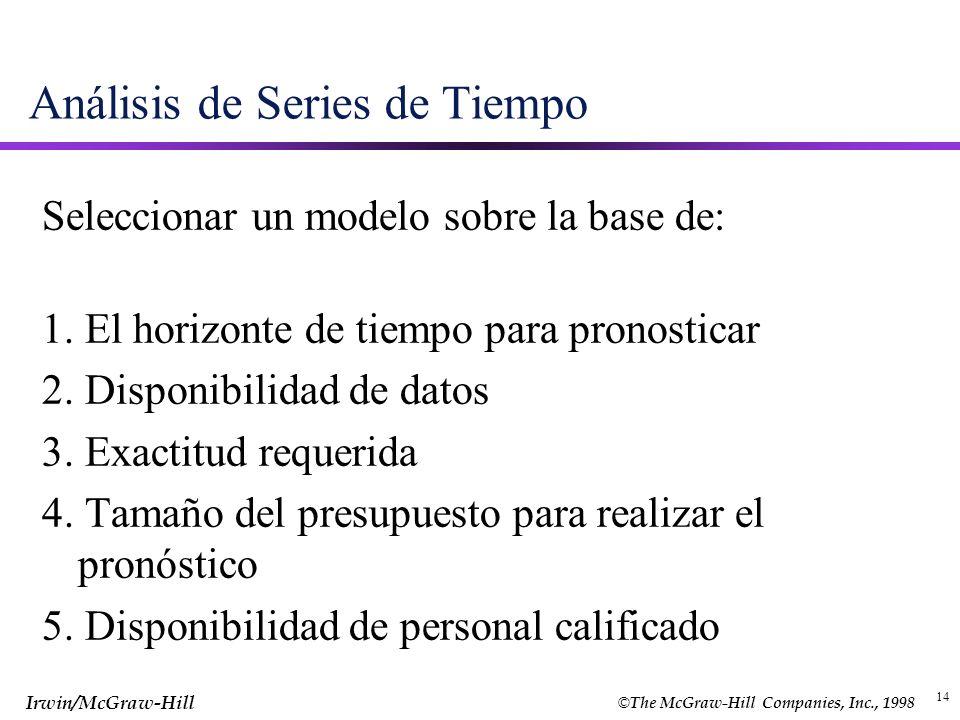 © The McGraw-Hill Companies, Inc., 1998 Irwin/McGraw-Hill 14 Análisis de Series de Tiempo Seleccionar un modelo sobre la base de: 1. El horizonte de t