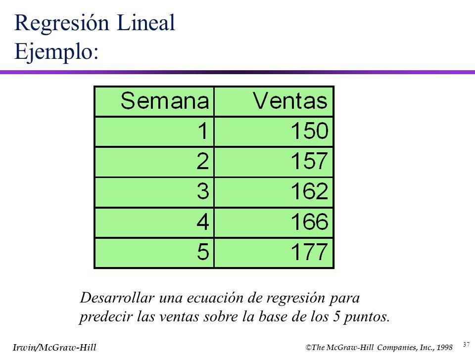 © The McGraw-Hill Companies, Inc., 1998 Irwin/McGraw-Hill 37 Regresión Lineal Ejemplo: Desarrollar una ecuación de regresión para predecir las ventas