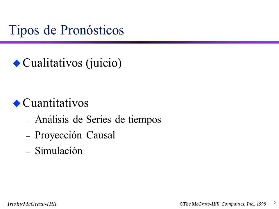 © The McGraw-Hill Companies, Inc., 1998 Irwin/McGraw-Hill 5 Tipos de Pronósticos u Cualitativos (juicio) u Cuantitativos – Análisis de Series de tiemp