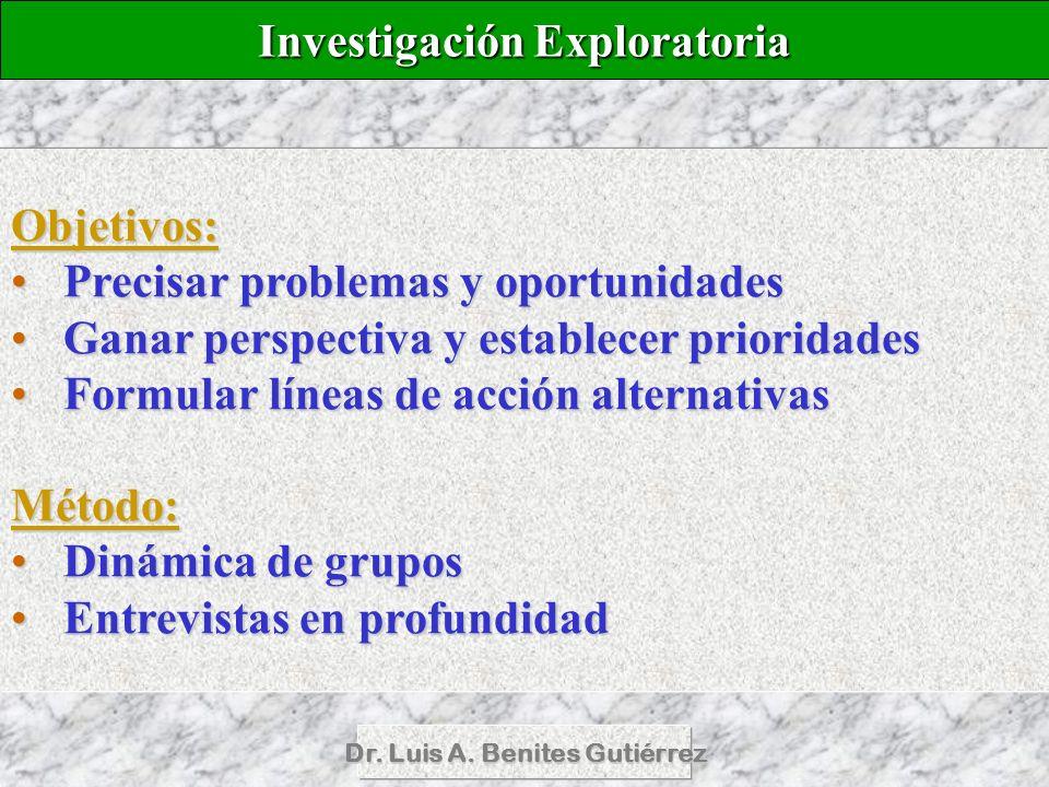 Dr. Luis A. Benites Gutiérrez Objetivos: Precisar problemas y oportunidadesPrecisar problemas y oportunidades Ganar perspectiva y establecer prioridad