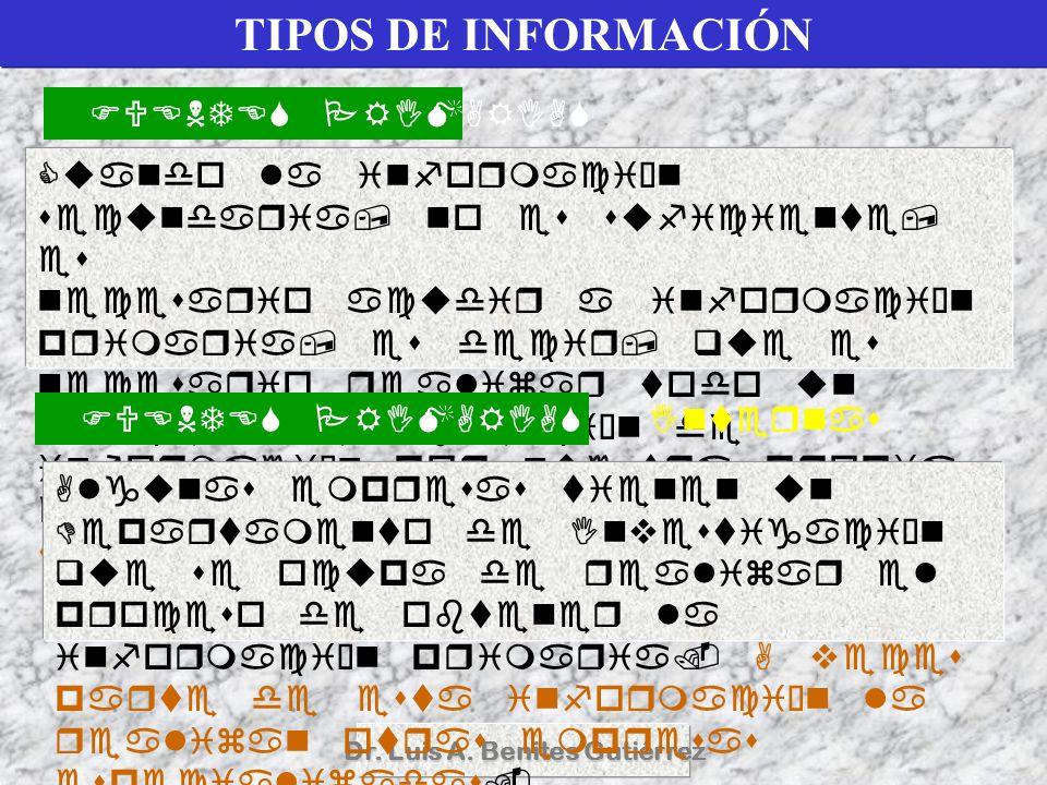 Dr. Luis A. Benites Gutiérrez TIPOS DE INFORMACIÓN
