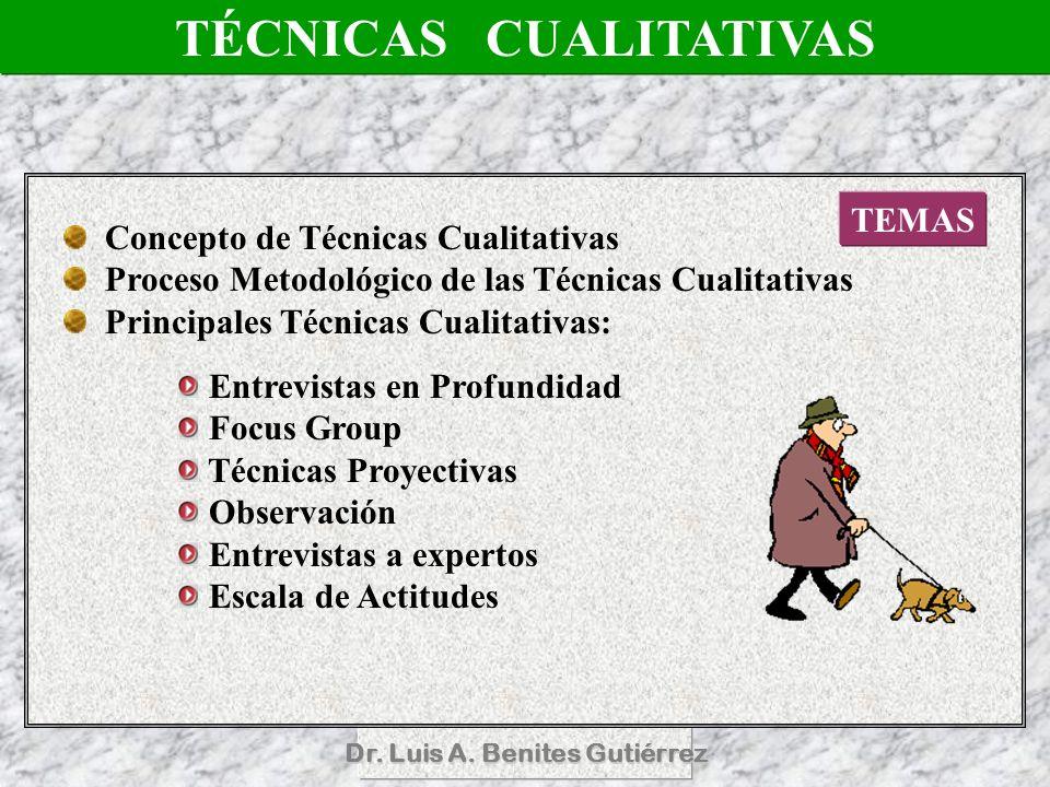Dr. Luis A. Benites Gutiérrez TÉCNICAS CUALITATIVAS TEMAS Concepto de Técnicas Cualitativas Proceso Metodológico de las Técnicas Cualitativas Principa