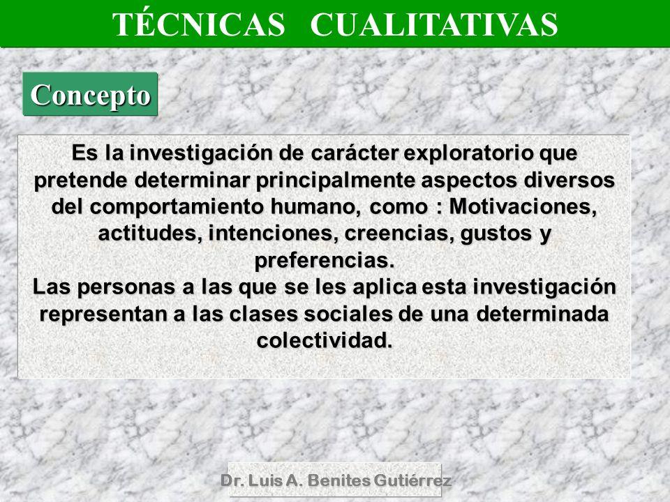 Dr. Luis A. Benites Gutiérrez Es la investigación de carácter exploratorio que pretende determinar principalmente aspectos diversos del comportamiento
