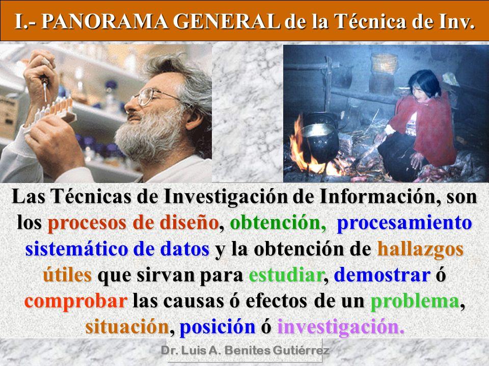 Dr. Luis A. Benites Gutiérrez Las Técnicas de Investigación de Información, son los procesos de diseño, obtención, procesamiento sistemático de datos