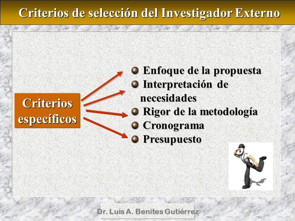 Dr. Luis A. Benites Gutiérrez Criterios de selección del Investigador Externo Criterios de selección del Investigador Externo Criteriosespecíficos Enf
