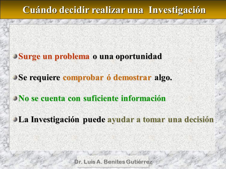 Dr. Luis A. Benites Gutiérrez Surge un problema o una oportunidad Se requiere comprobar ó demostrar algo. No se cuenta con suficiente información La I