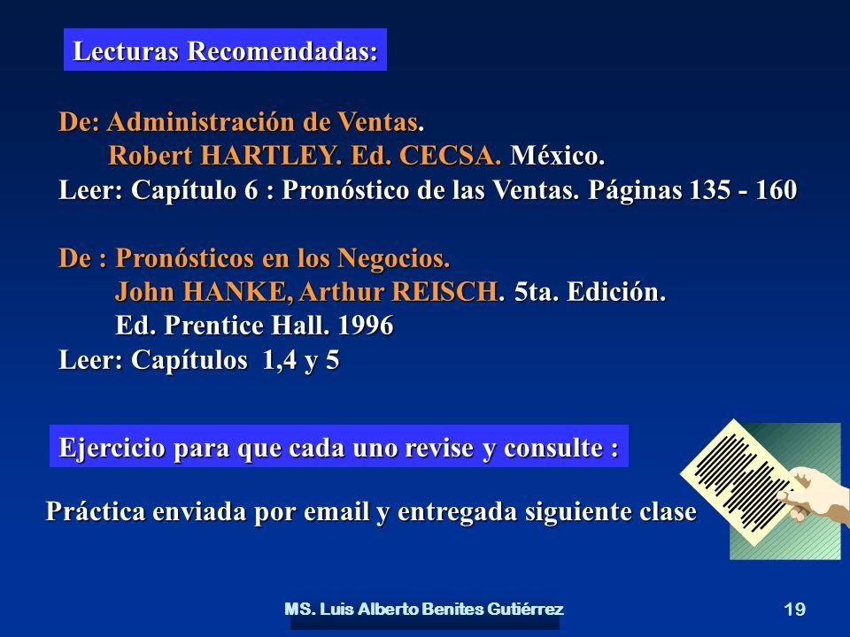 MS. Luis Alberto Benites Gutiérrez 19 Lecturas Recomendadas: De: Administración de Ventas. Robert HARTLEY. Ed. CECSA. México. Robert HARTLEY. Ed. CECS