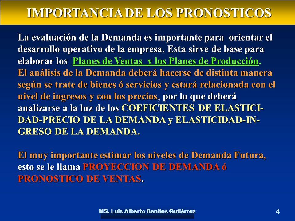 MS. Luis Alberto Benites Gutiérrez 4 La evaluación de la Demanda es importante para orientar el desarrollo operativo de la empresa. Esta sirve de base
