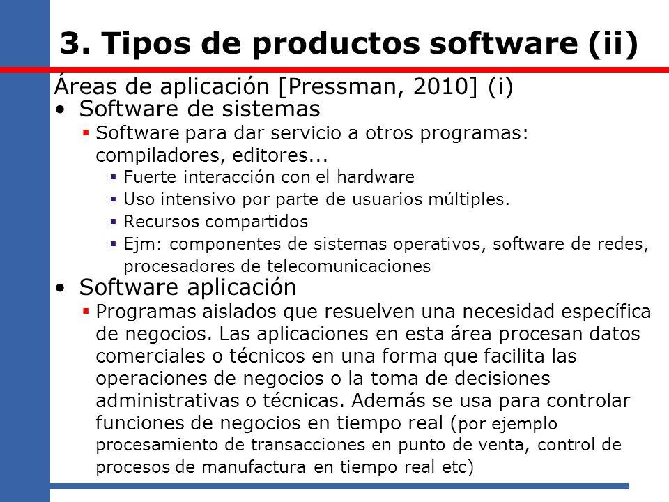 3. Tipos de productos software (ii) Áreas de aplicación [Pressman, 2010] (i) Software de sistemas Software para dar servicio a otros programas: compil