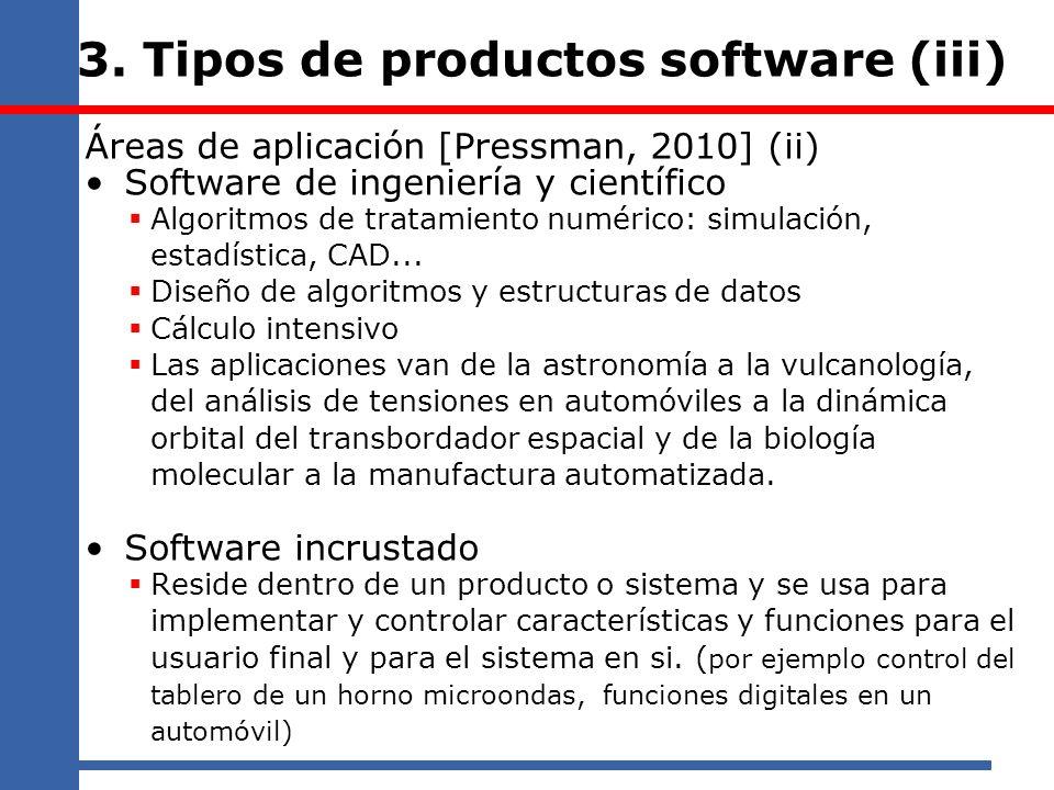 3. Tipos de productos software (iii) Áreas de aplicación [Pressman, 2010] (ii) Software de ingeniería y científico Algoritmos de tratamiento numérico: