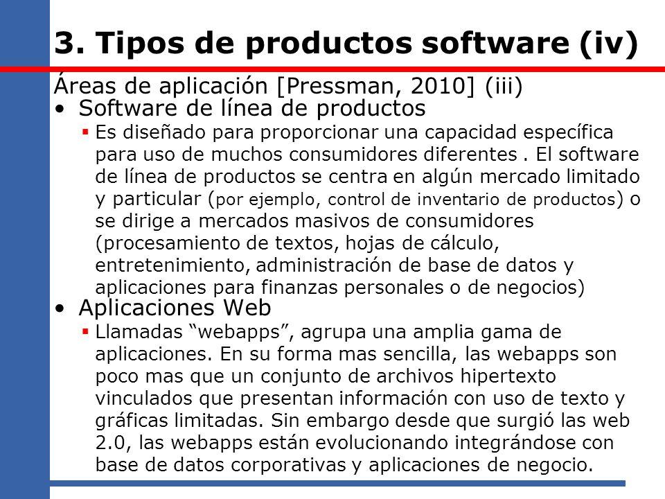 3. Tipos de productos software (iv) Áreas de aplicación [Pressman, 2010] (iii) Software de línea de productos Es diseñado para proporcionar una capaci