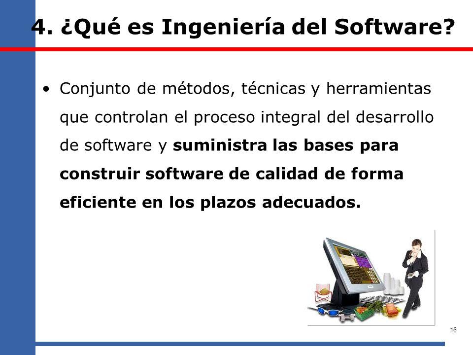 4. ¿Qué es Ingeniería del Software? Conjunto de métodos, técnicas y herramientas que controlan el proceso integral del desarrollo de software y sumini