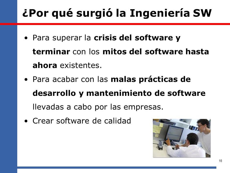 ¿Por qué surgió la Ingeniería SW Para superar la crisis del software y terminar con los mitos del software hasta ahora existentes. Para acabar con las