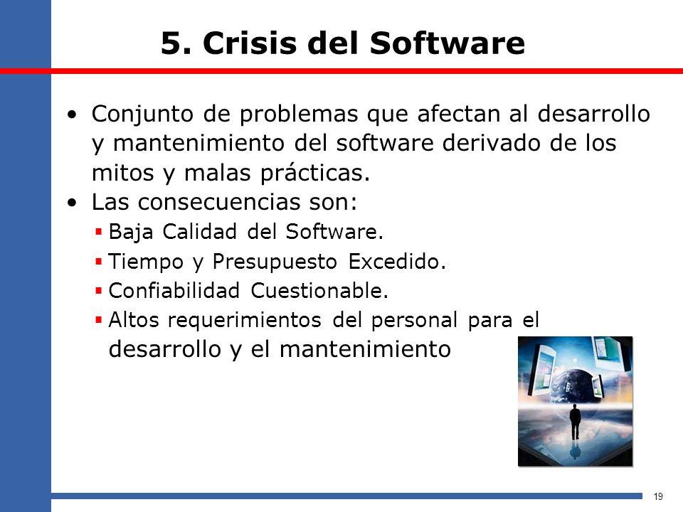 5. Crisis del Software Conjunto de problemas que afectan al desarrollo y mantenimiento del software derivado de los mitos y malas prácticas. Las conse