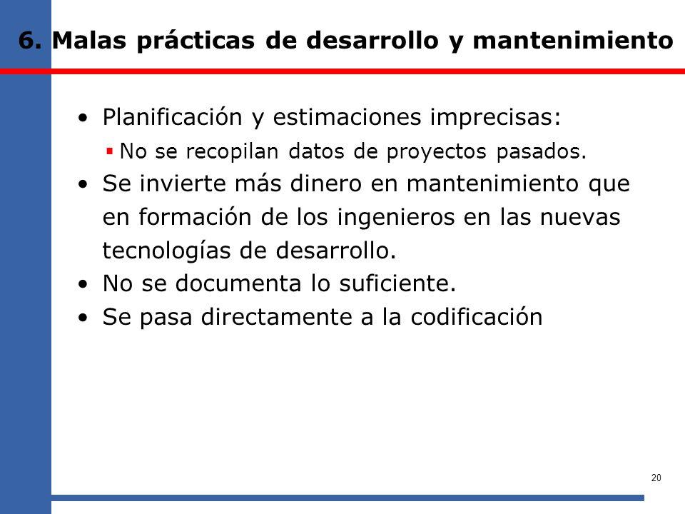 6. Malas prácticas de desarrollo y mantenimiento Planificación y estimaciones imprecisas: No se recopilan datos de proyectos pasados. Se invierte más