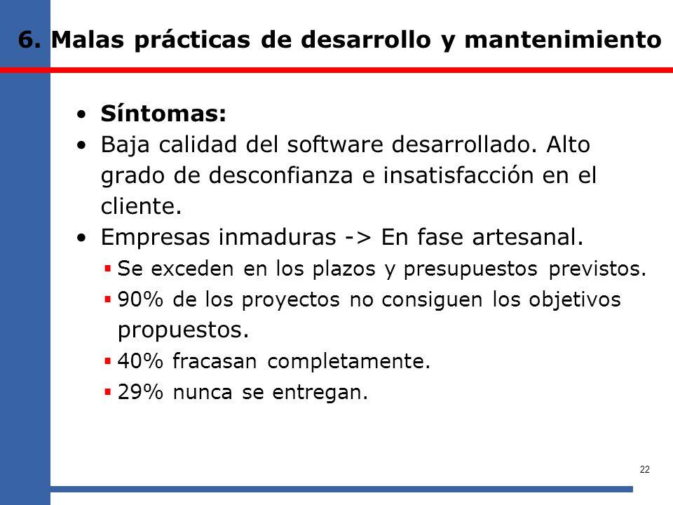 6. Malas prácticas de desarrollo y mantenimiento Síntomas: Baja calidad del software desarrollado. Alto grado de desconfianza e insatisfacción en el c