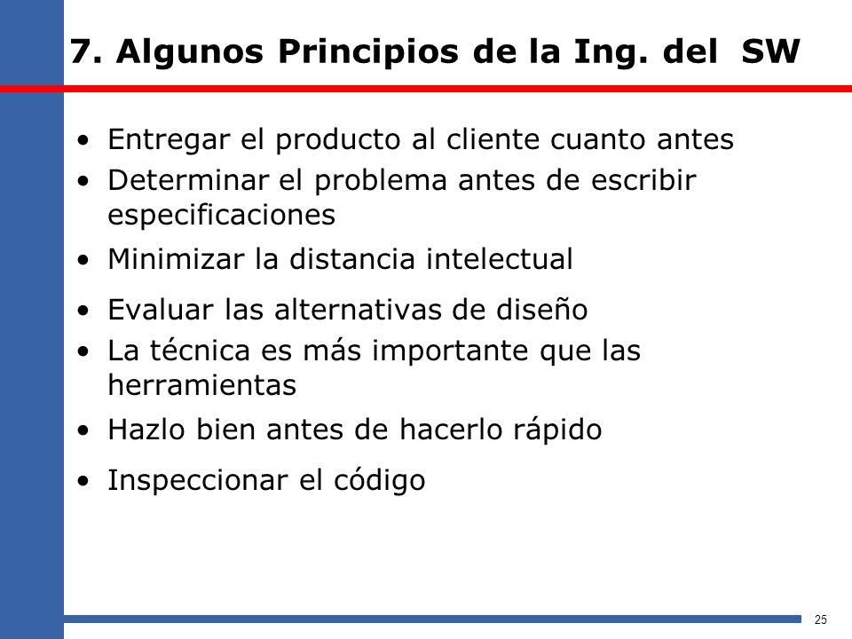 7. Algunos Principios de la Ing. del SW Entregar el producto al cliente cuanto antes Determinar el problema antes de escribir especificaciones Minimiz