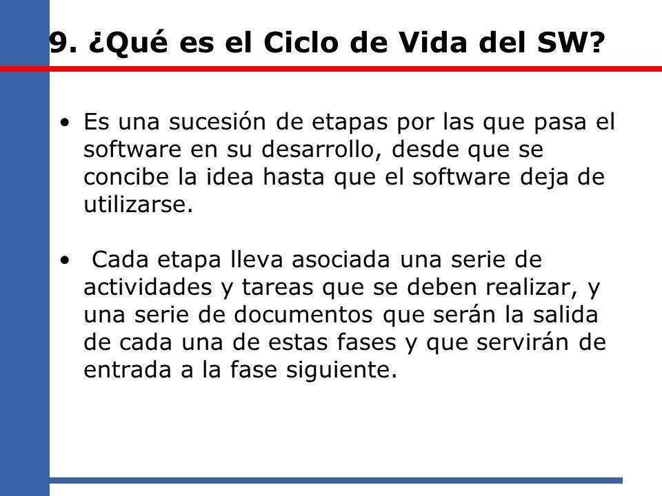 9. ¿Qué es el Ciclo de Vida del SW? Es una sucesión de etapas por las que pasa el software en su desarrollo, desde que se concibe la idea hasta que el