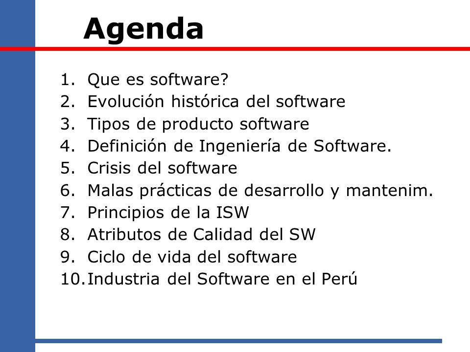 Agenda 1.Que es software? 2.Evolución histórica del software 3.Tipos de producto software 4.Definición de Ingeniería de Software. 5.Crisis del softwar