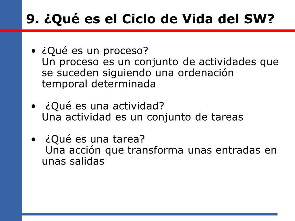 9. ¿Qué es el Ciclo de Vida del SW? ¿Qué es un proceso? Un proceso es un conjunto de actividades que se suceden siguiendo una ordenación temporal dete