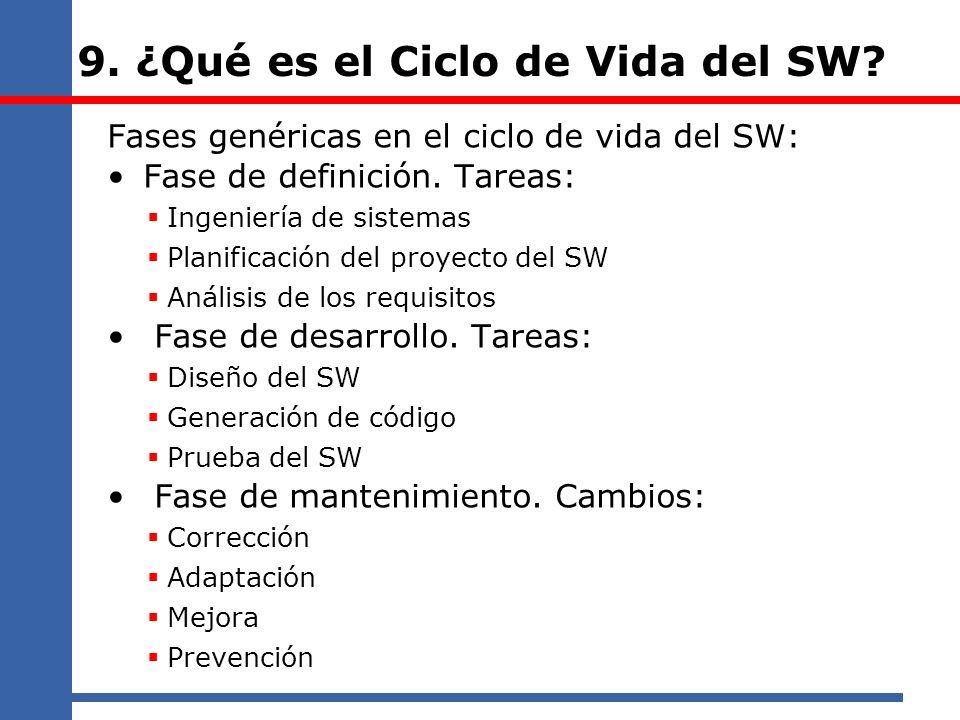 9. ¿Qué es el Ciclo de Vida del SW? Fases genéricas en el ciclo de vida del SW: Fase de definición. Tareas: Ingeniería de sistemas Planificación del p
