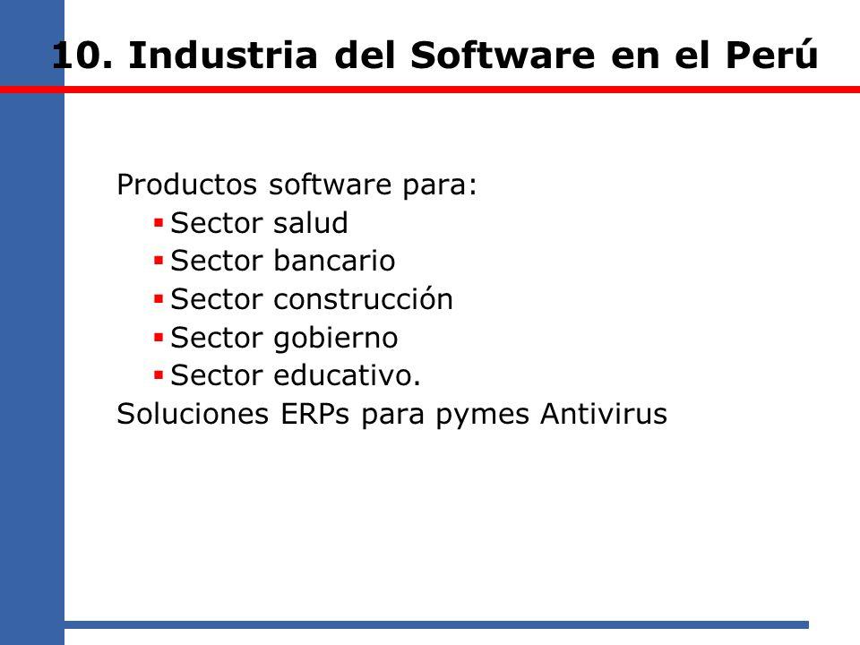 10. Industria del Software en el Perú Productos software para: Sector salud Sector bancario Sector construcción Sector gobierno Sector educativo. Solu