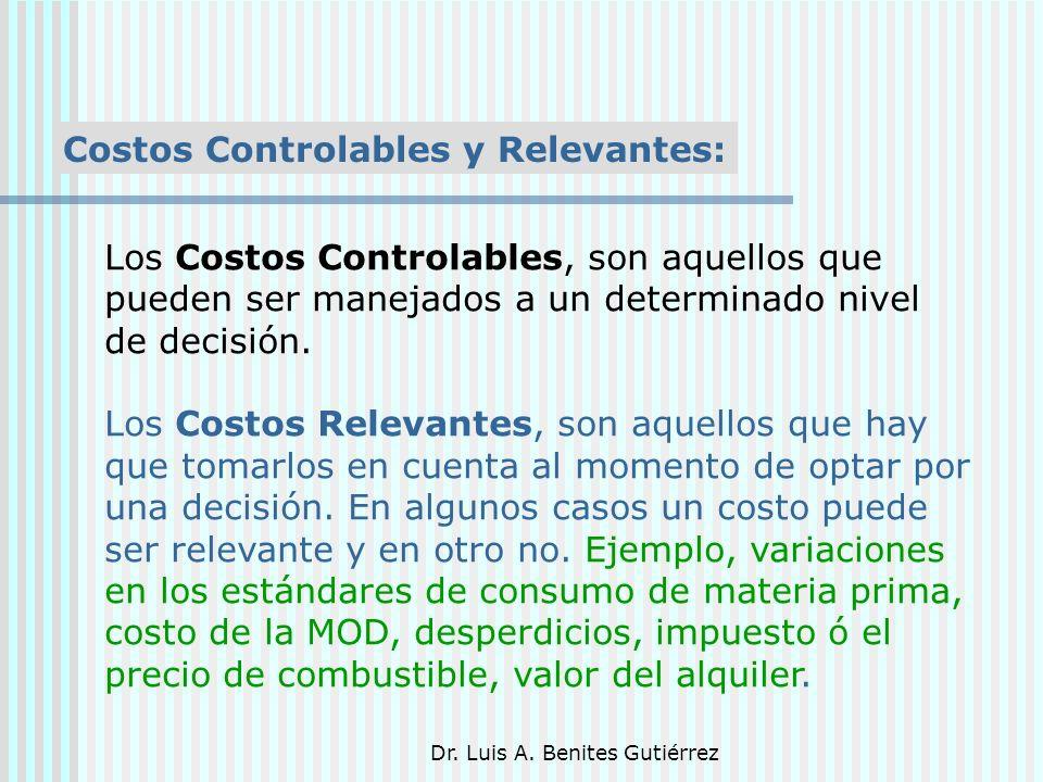 Dr. Luis A. Benites Gutiérrez Costos Controlables y Relevantes: Los Costos Controlables, son aquellos que pueden ser manejados a un determinado nivel