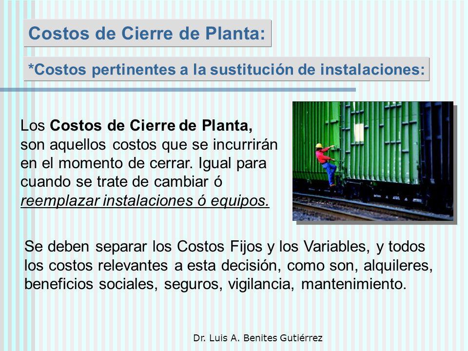Dr. Luis A. Benites Gutiérrez Costos de Cierre de Planta: Los Costos de Cierre de Planta, son aquellos costos que se incurrirán en el momento de cerra