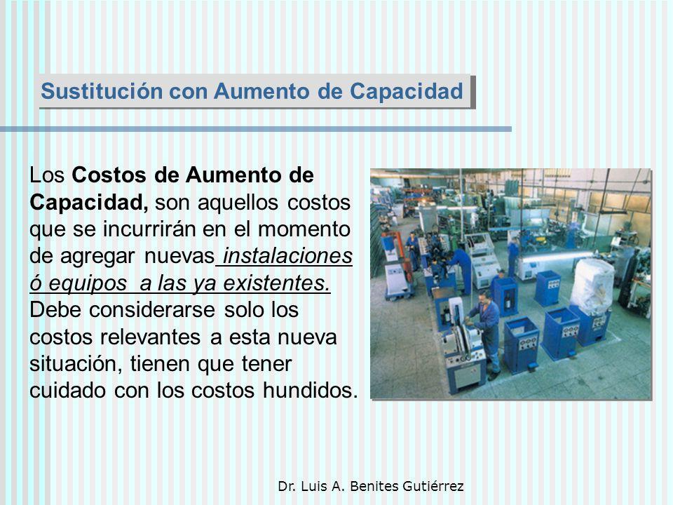 Dr. Luis A. Benites Gutiérrez Sustitución con Aumento de Capacidad Los Costos de Aumento de Capacidad, son aquellos costos que se incurrirán en el mom