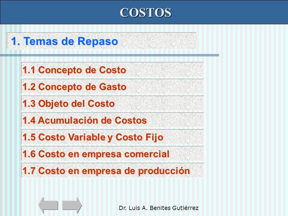 Dr. Luis A. Benites Gutiérrez 1. Temas de Repaso 1. Temas de Repaso COSTOS COSTOS 1.1 Concepto de Costo 1.1 Concepto de Costo 1.2 Concepto de Gasto 1.