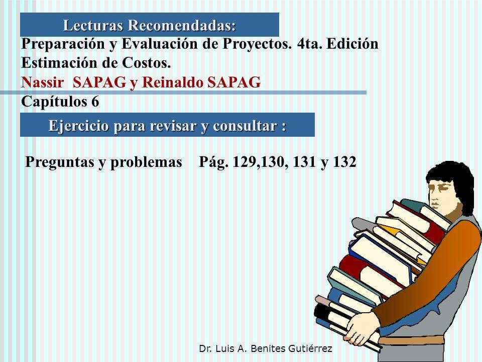 Dr. Luis A. Benites Gutiérrez Lecturas Recomendadas: Preparación y Evaluación de Proyectos. 4ta. Edición Estimación de Costos. Nassir SAPAG y Reinaldo