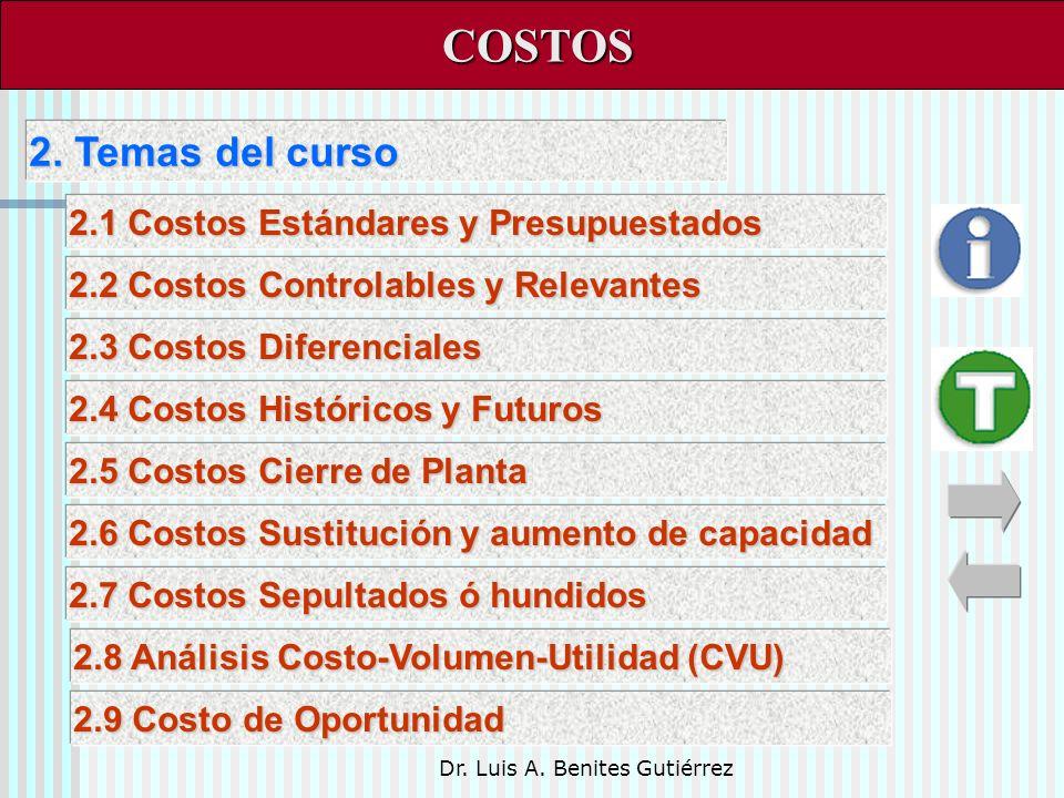 Dr. Luis A. Benites Gutiérrez 2. Temas del curso 2. Temas del curso COSTOS COSTOS 2.1 Costos Estándares y Presupuestados 2.1 Costos Estándares y Presu