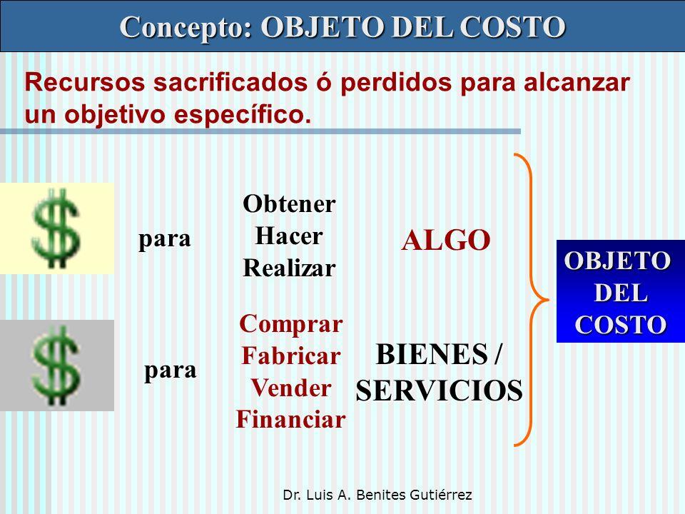 Dr. Luis A. Benites Gutiérrez Concepto: OBJETO DEL COSTO Recursos sacrificados ó perdidos para alcanzar un objetivo específico. para para ObtenerHacer