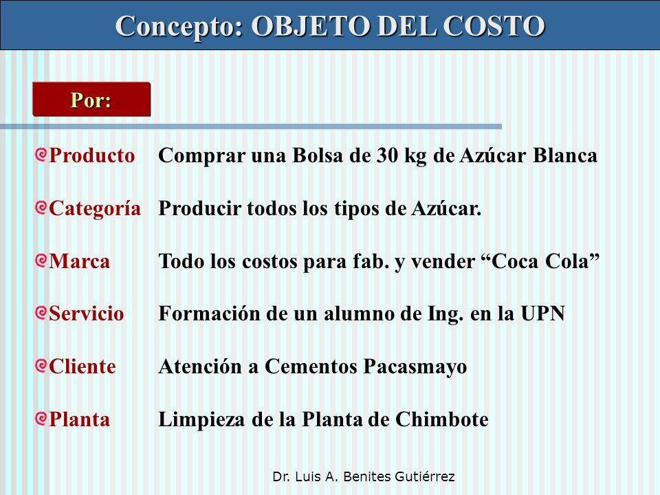 Dr. Luis A. Benites Gutiérrez Concepto: OBJETO DEL COSTO ProductoComprar una Bolsa de 30 kg de Azúcar Blanca CategoríaProducir todos los tipos de Azúc